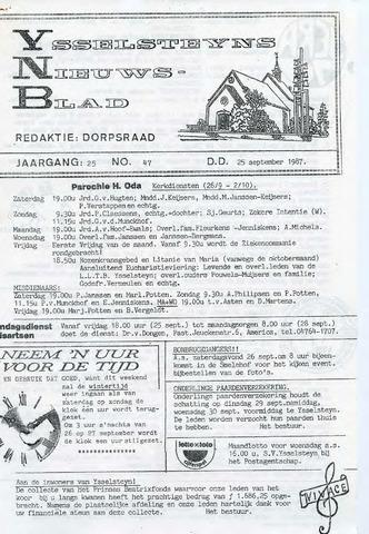 Ysselsteyns Nieuwsblad 1987-09-25