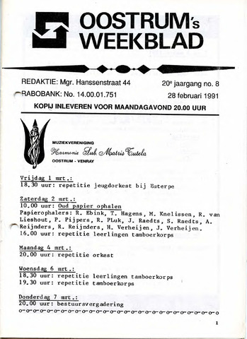 Oostrum's Weekblad 1991-02-28