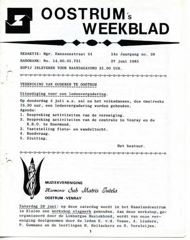 Oostrum's Weekblad 1985-06-27