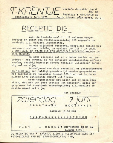 Oirlo's dorpsblad 't Krèntje 1975-06-05