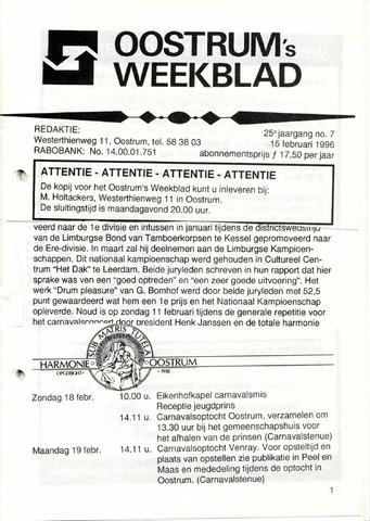 Oostrum's Weekblad 1996-02-15