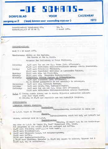 Castenrays dorpsblad De Schans 1973-03-02