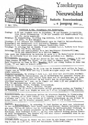 Ysselsteyns Nieuwsblad 1974-05-31