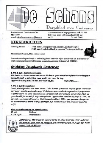 Castenrays dorpsblad De Schans 2008-05-28