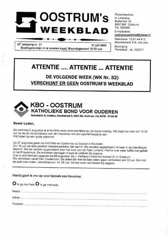 Oostrum's Weekblad 2003-07-31