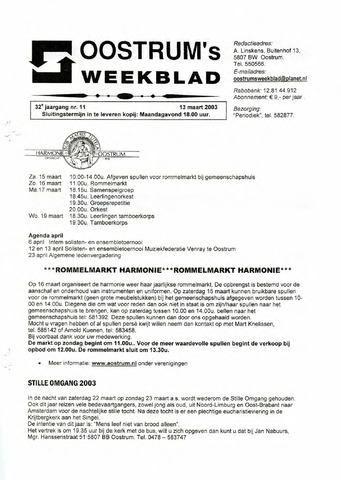 Oostrum's Weekblad 2003-03-13