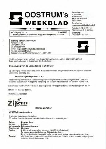 Oostrum's Weekblad 2003-05-01