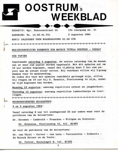 Oostrum's Weekblad 1984-08-02