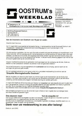 Oostrum's Weekblad 2003-04-17