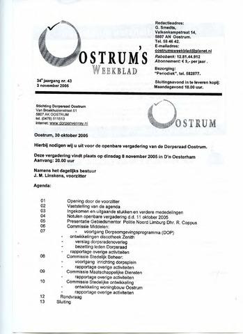 Oostrum's Weekblad 2005-11-03