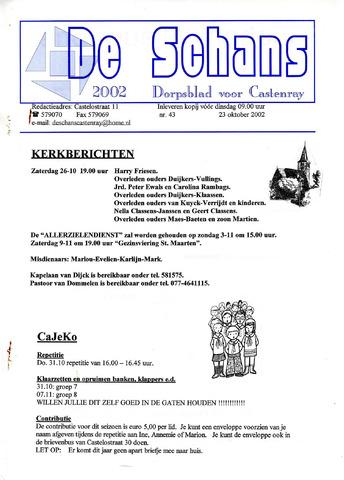 Castenrays dorpsblad De Schans 2002-10-23