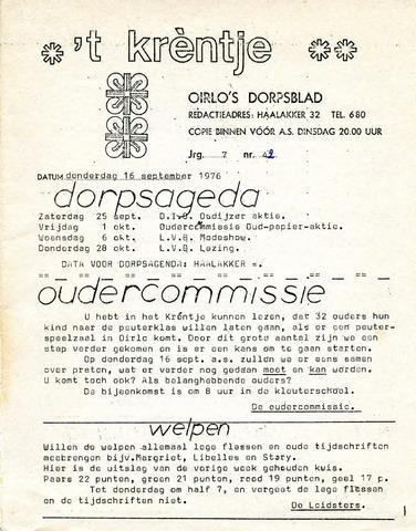 Oirlo's dorpsblad 't Krèntje 1976-09-16