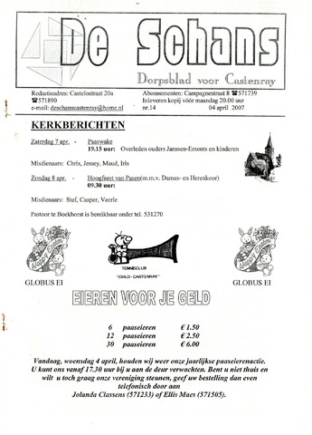 Castenrays dorpsblad De Schans 2007-04-04