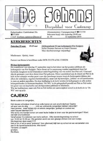 Castenrays dorpsblad De Schans 2010-09-22