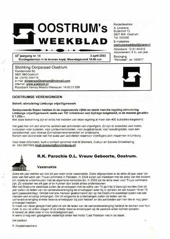 Oostrum's Weekblad 2003-04-03