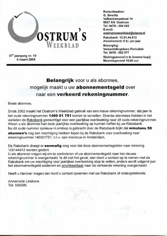 Oostrum's Weekblad 2008-03-06