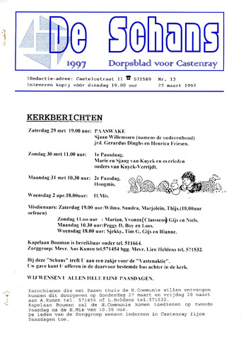 Castenrays dorpsblad De Schans 1997-03-27