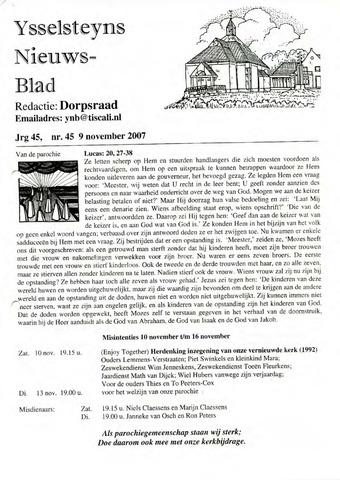 Ysselsteyns Nieuwsblad 2007-11-09