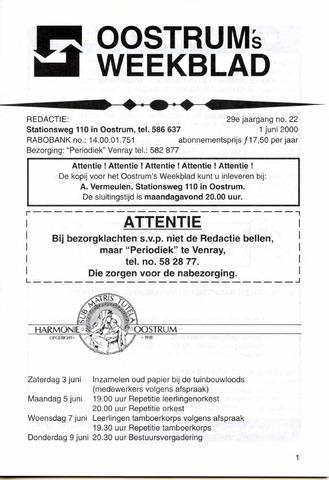 Oostrum's Weekblad 2000-06-01