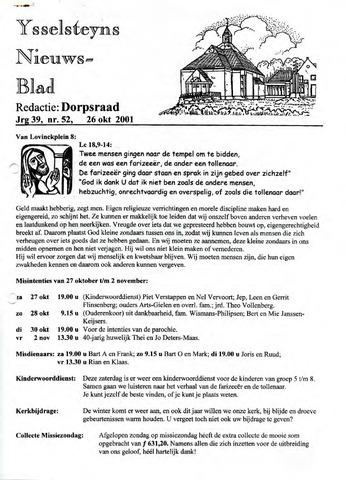 Ysselsteyns Nieuwsblad 2001-10-26