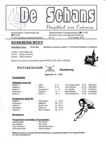 Castenrays dorpsblad De Schans 2010-11-10