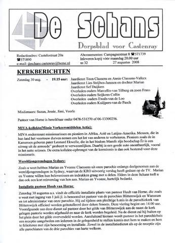 Castenrays dorpsblad De Schans 2008-08-27