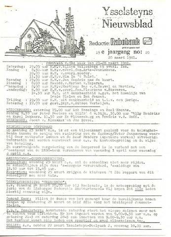 Ysselsteyns Nieuwsblad 1981-03-20