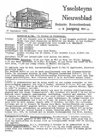 Ysselsteyns Nieuwsblad 1974-09-27
