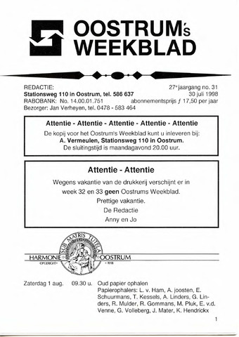 Oostrum's Weekblad 1998-07-30