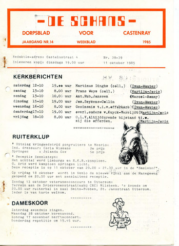 Castenrays dorpsblad De Schans 1985-10-11