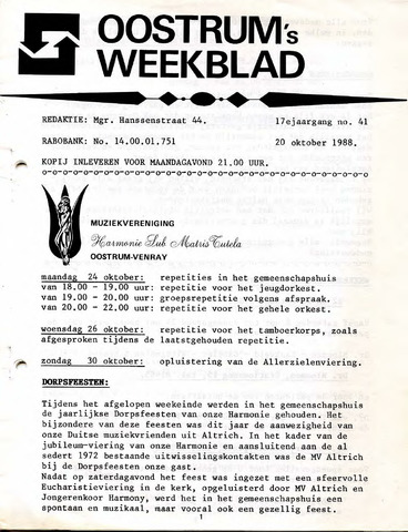 Oostrum's Weekblad 1988-10-20