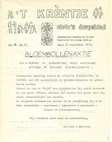 Oirlo's dorpsblad 't Krèntje 1979-09-27