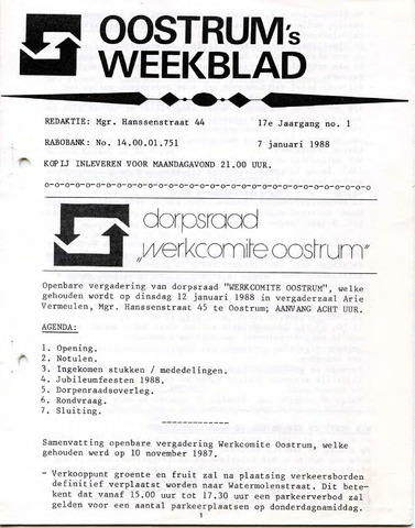 Oostrum's Weekblad 1988-01-07