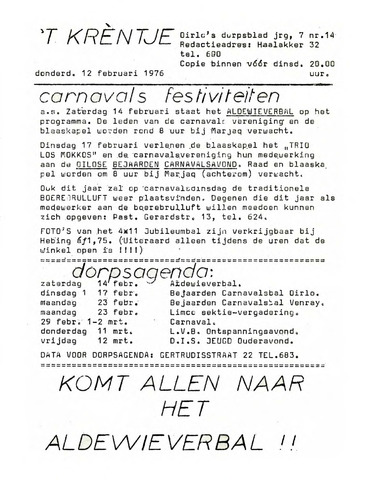 Oirlo's dorpsblad 't Krèntje 1976-02-12