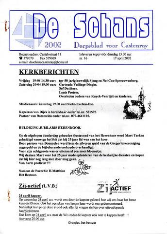 Castenrays dorpsblad De Schans 2002-04-17