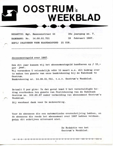 Oostrum's Weekblad 1987-02-19