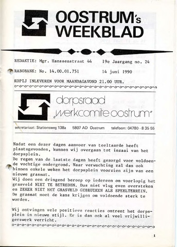 Oostrum's Weekblad 1990-06-14