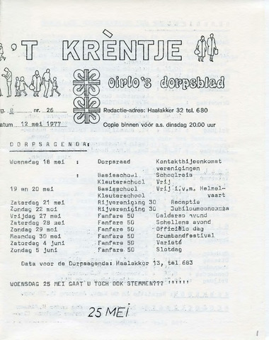 Oirlo's dorpsblad 't Krèntje 1977-05-12