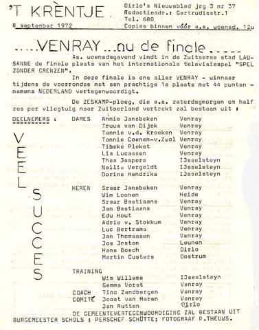Oirlo's dorpsblad 't Krèntje 1972-09-08