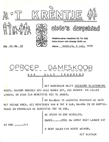 Oirlo's dorpsblad 't Krèntje 1979-08-02