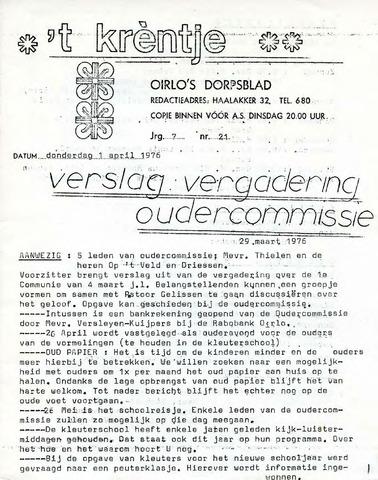 Oirlo's dorpsblad 't Krèntje 1976-04-01