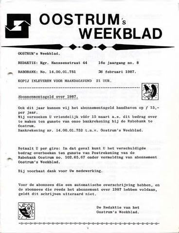 Oostrum's Weekblad 1987-02-26