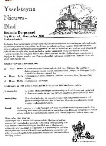 Ysselsteyns Nieuwsblad 2002-11-08