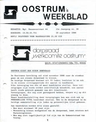 Oostrum's Weekblad 1986-09-18