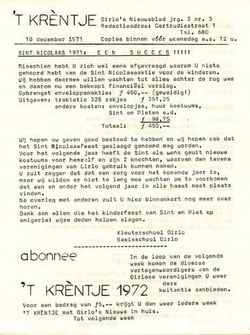 Oirlo's dorpsblad 't Krèntje 1971-12-10