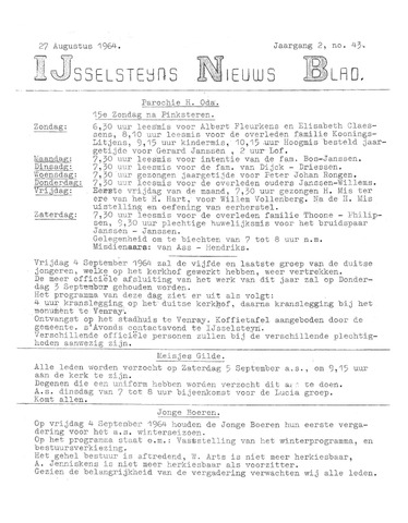 Ysselsteyns Nieuwsblad 1964-08-27