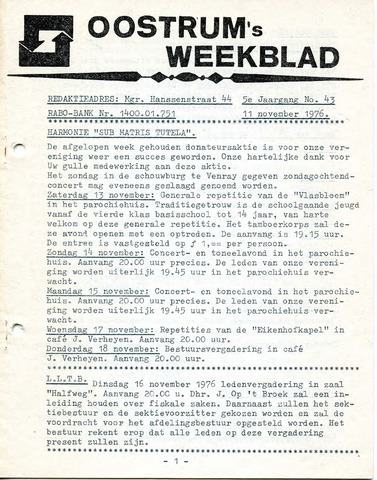 Oostrum's Weekblad 1976-11-11