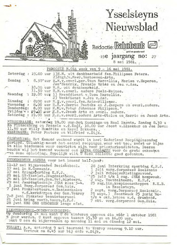 Ysselsteyns Nieuwsblad 1981-05-08