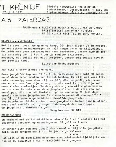 Oirlo's dorpsblad 't Krèntje 1971-07-23