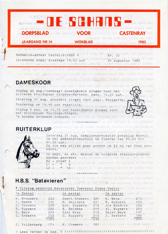 Castenrays dorpsblad De Schans 1985-08-30